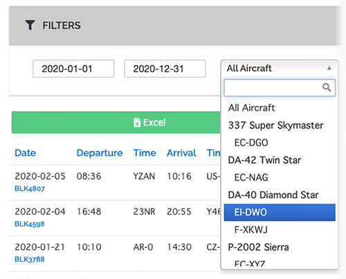 flight filters and export to excel option